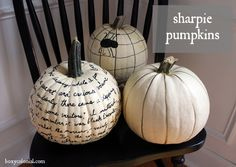 Love these pumpkins decorated with a Sharpie!