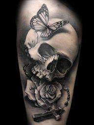 skull + rosary + roses+ butterflies