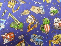 Boys and their Toys cotton print
