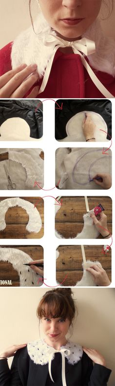 Fun quick DIY fur collar idea.  I think I have some leftover fur sitting around to try this out on!