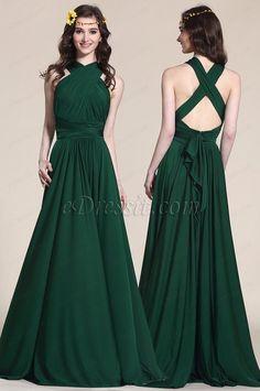 Convertible Dark Green Bridesmaid Dress Evening Gown (07154704)