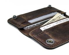 RETROMODERN aged leather iPhone wallet - - DARK BROWN