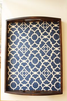 Mod Podge fabric to a wood tray - great DIY