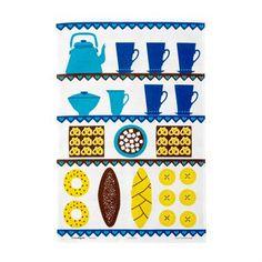 Kafferepet-keittiöpyyhe on puuvillapellavainen keittiöpyyhe, jossa on Louise Fougstedtin suunnittelema retrohenkinen kuvio. Almedahlsilta.