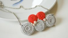 grey / coral kuklos necklace by ganbayo on Etsy