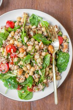 Marinated Chickpeas with Quinoa and Greens (vegan, gf)