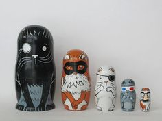 Cats with Eyewear Nesting Dolls