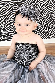 Zebra Big Mum on Black Crochet Headband