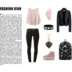 pinky black by hanin-179 on Polyvore featuring Chicwish, Balenciaga, MICHAEL Michael Kors, OBEY Clothing and Ice-Watch