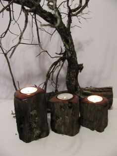 Juniper wood candle holders Three tealight candle by WoodaCooda, $28.75