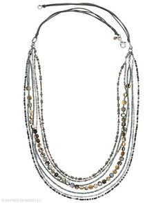 """Softly lustrous strands of Sterling Silver, Shell and Seed Bead enliven this Necklace. Approximately 28""""."""