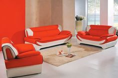 Leather And Fabric Sofa. Orange Leather Sofas, Orange Sofa, Leather Corner Sofa, Leather Sofa Set, Living Room Orange, Living Room Sets, Black Sofa Set, Garden Sofa Set, Sofa Set Online