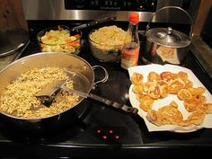 Chicken Fried Rice, Cabbage stir-fry , Teriyaki sprouts & Chicken Flats