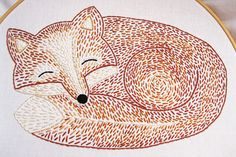 Sleepy Fox Hand Embroidery Pattern by EarlyBirdSpecial on Etsy                                                                                                                                                                                 More