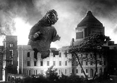Godzilla stomps through the Japanese Parliament building in Tokyo in the1954 debut film.