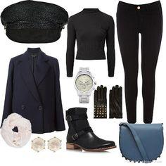 Blue Alpha Lia Smith Bag + Elyse Raffia Cap + Black Ribbed High Neck Top + Premium Regular Length Black Jade Jeans + double breasted jacket + SIAN boots