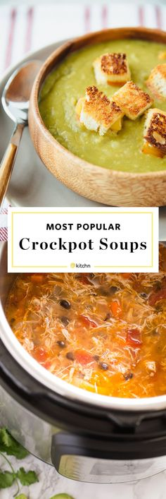 Most popular crockpot or slow cooker soup recipes. Looking for Recipes and ideas for hearty weeknight meals and dinners - or light and easy lunches? These simple soups range from vegetarian with plant packed proteins like pea soup, to chicken tortilla and beef or pork sausage comfort food bowls. Make them in your crock pot! Perfect for cold weather