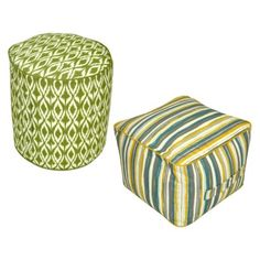 Threshold™ Outdoor Pouf Footstool Collection Threshold™; $31.99 Nano-Tex-protected, 100% polyester fabric is water, spill and fade resistant, double welting, a zip closure and a carry handle on the side. Hand wash with mild soap. For longer life, cover or store when not in use.