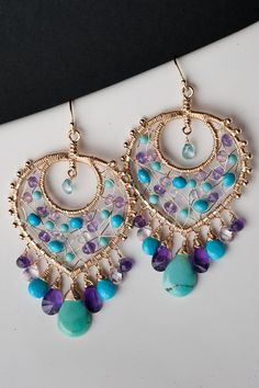 Colorful Gemstone Mosaic Chandelier Earrings w/ Turquoise, Amethyst & Natural Zircon in Gold: Bollywood