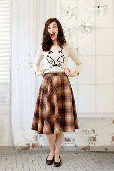 Cream Fox Sweater, Orange Plaid Midi Skirt, Brown Flats // excited