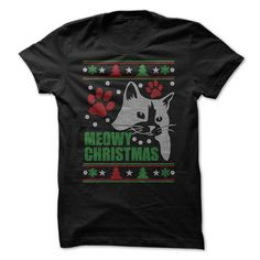 Meowy Ugly Christmas T-Shirts, Hoodies. VIEW DETAIL ==► https://www.sunfrog.com/Holidays/Meowy--Ugly-Christmas-.html?41382