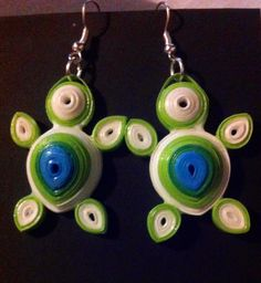 Made by me.Turtle quilling earrings