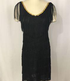 Black Fringe 1920s Flapper Dress Womens Halloween costume Adult Sz Large USA #CaliforniaCostumeCollections #Dress