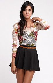 Kirra Lace FItted Tee Floral