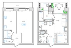 New apartment architecture plans layout interior design 16 Ideas Studio Apartment Layout, Apartment Design, Bedroom Layouts, House Layouts, Studio Floor Plans, Cool Apartments, Tiny House Plans, Cabin Plans, Architecture Plan