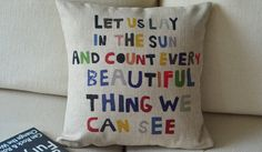 "1  linen  colorful words let us lay in the sun printed  pillow cover  / cushion case 18"". $20.00, via Etsy."