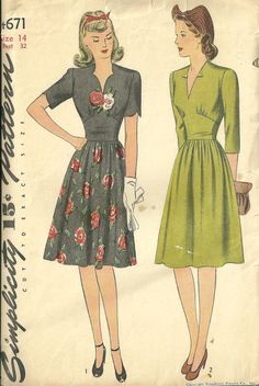 Dress with Scalloped Neck or V-Neck Simplicity 4671 1940s Dresses, Vintage Dresses, Vintage Outfits, Vintage Clothing, Vintage Dress Patterns, Clothing Patterns, Style Vintage, Vintage Inspired, 1940s Style