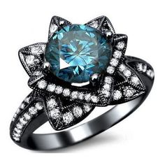 2.03ct Blue Round Diamond Lotus Flower Engagement Ring 14k Black Gold... ($3,995) ❤ liked on Polyvore featuring jewelry, rings, accessories, bijoux, blue, black gold rings, 14k gold ring, diamond rings, black engagement rings and blue engagement rings