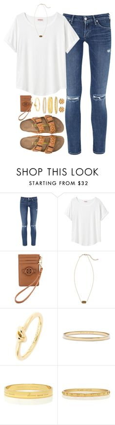 """""""what I wish I could wear to school"""" by tessorastefan ❤ liked on Polyvore featuring Citizens of Humanity, Organic by John Patrick, Birkenstock, Tory Burch, Kendra Scott and Kate Spade"""