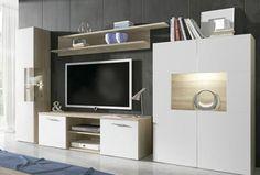 376€ Moderno mueble de salón en color blanco con estructura de madera cambrian. #moderno #salón #blanco #madera  Deskontalia Planes - Descuentos del 70%. Ofertas .