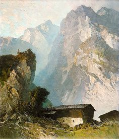 Homestead Before Mountainous Massif Oskar Mulley (1891 - 1949) more works by this artist