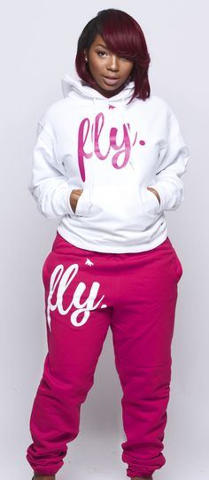 FLY. White Hoodie/Pink Pants Sweatsuit (UNISEX FIT)