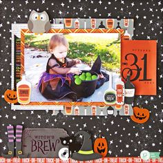 Witch's Brew *Pebbles* - Scrapbook.com - Adorable stickers and chipboard from Pebbles Boo collection create the cutest Halloween scene on layouts.