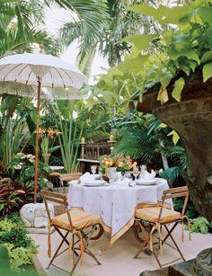backyard oasis, fringe umbrella