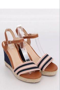 Ψηλοτάκουνες εσπαντρίγιες με ρίγες - Σκούρο μπλε Espadrilles, Sandals, Heels, Model, Platform, Fashion, Espadrilles Outfit, Slide Sandals, Heel
