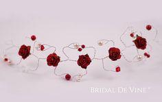 Red Mulberry Flower Hair Vine Wedding Hair Accessory Hair