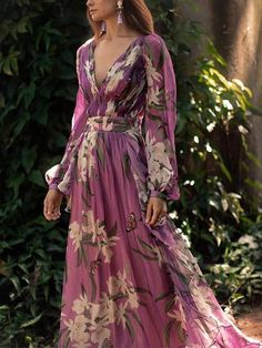 Women Sexy Floral Printed V-Neck Evening Party Dress – Prilly Solid Wrap Long Sleeve Maxi A-line Dress – Prilly maxi dresses maxi skirt outfit maxi dress outfit maxi dress summer maxi dress casual long dress casual summer dress outfit Long Sleeve Floral Dress, Long Sleeve Maxi, Maxi Dress With Sleeves, Floral Maxi Dress, Maxi Dresses, Long Dresses, Elegant Dresses, Pleated Maxi, Simple Dresses
