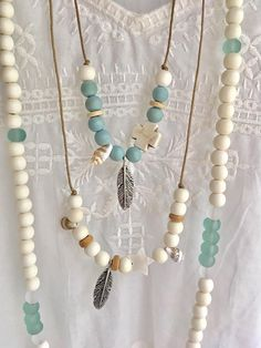 boho jewelry bobemian beaded necklace beachcomber beach