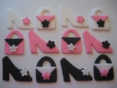 12 Fondant Cupcake Toppers - Shoes and Purses Cupcake Toppers - Black, White and Pink - Edible Fondant Party Decorations - READY TO SHIP. $8.95, via Etsy.