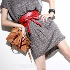 Trendy Wide Belt - Red