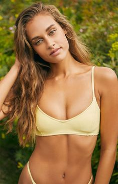da17193f47 LA Hearts Womens Yellow Pearl Ribbed Cropped Bikini Top | Spot POP Fashion