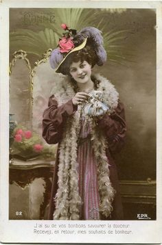 French lady with roses on hat  Vintage French