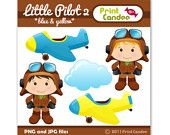 Little Pilot 2 (Red & Blue) - BUY 2 GET 1 FREE - Digital Clip Art - Personal and Commercial Use - graphics, scrapbooking, card making. $3.50, via Etsy.