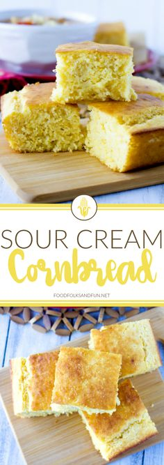 This Sour Cream Cornbread recipe is so moist, delicious, and not overly sweet. It's super easy to make, the entire family will love it, and it's simply the best! Buttery Cornbread Recipe, Southern Cornbread Recipe, Sour Cream Cornbread, Gluten Free Cornbread, Homemade Cornbread, Sweet Cornbread, Cornbread Pudding, Jiffy Cornbread Recipes, Southern Recipes
