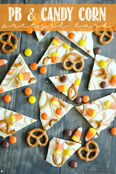 PB Candy Corn Pretzel Bark: White chocolate and swirls of peanut butter paired with Candy Corn, Reese's Pieces, and Pretzels make for festive sweet & salty treat! ~ Something Swanky Candy Recipes, Fall Recipes, Holiday Recipes, Holiday Treats, Dessert Recipes, Halloween Desserts, Halloween Treats, Easy Halloween, Halloween Goodies