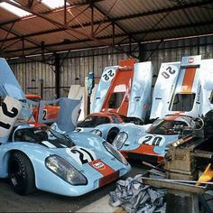 Gulf Porsche 917's at the 1970 24 hours of Le Mans.